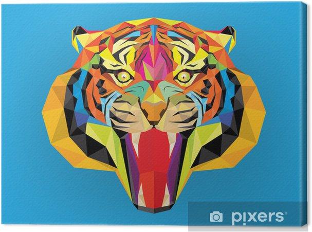 Tableau sur toile Tiger tête avec style géométrique - Mammifères