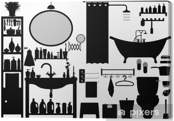 Tableau Sur Toile Toilettes Salle De Bains Set Vector Design   Sticker Mural