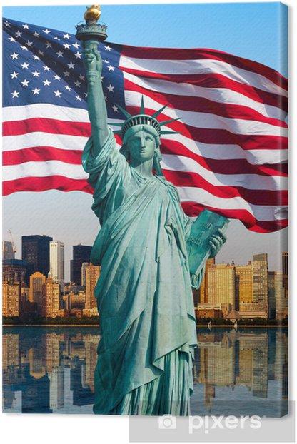 Tableau sur toile Toits de New York, la statue de la Liberté - Thèmes