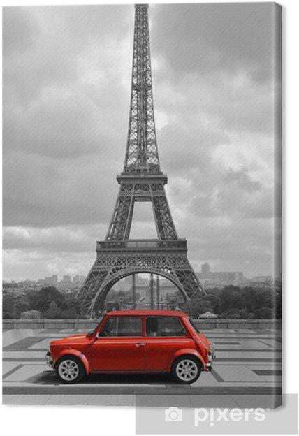 tableau sur toile tour eiffel avec la voiture photo noir et blanc avec un l ment rouge. Black Bedroom Furniture Sets. Home Design Ideas