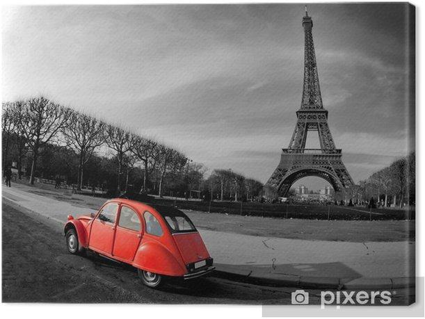 Tableau sur toile Tour Eiffel et voiture rouge-Paris -