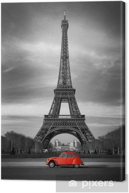Tableau sur toile Tour Eiffel et voiture rouge-Paris - Styles