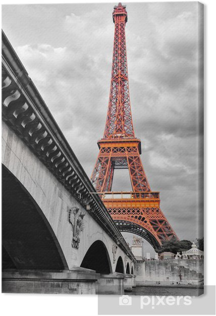 tableau sur toile tour eiffel noir et blanc et rouge. Black Bedroom Furniture Sets. Home Design Ideas