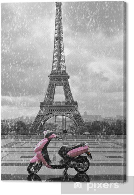tableau sur toile tour eiffel sous la pluie avec scooter rose de paris noir et w pixers. Black Bedroom Furniture Sets. Home Design Ideas