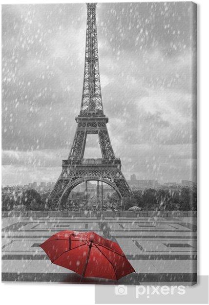 tableau sur toile tour eiffel sous la pluie photo noir et blanc avec un l ment rouge pixers. Black Bedroom Furniture Sets. Home Design Ideas