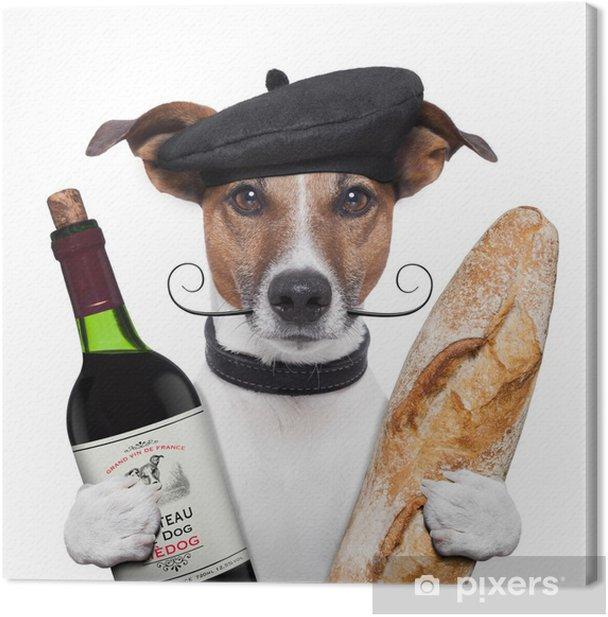 Tableau sur toile Toutefois, le rapport français baguette vin - Vacances