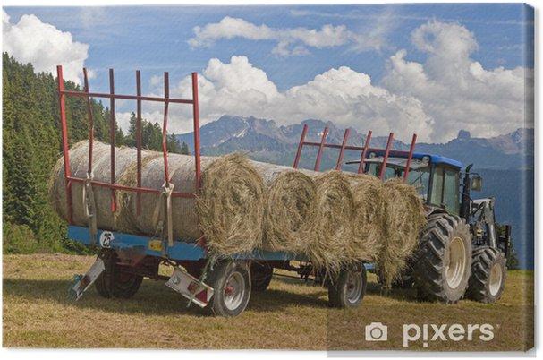 Tableau sur toile Tracteur avec des balles de foin - Agriculture