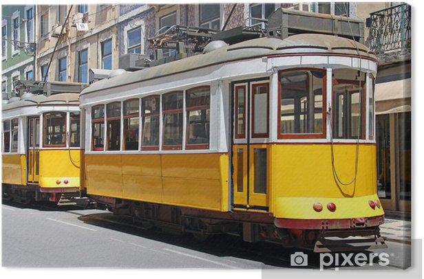 Tableau sur toile Trams jaunes à Lisbonne - Chemin de fer