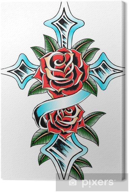 Tableau sur toile Traverser à la rose de conception - Religion