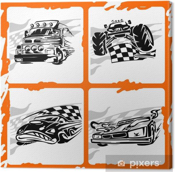 Tableau sur toile Tribal Racing Car. - Sur la route
