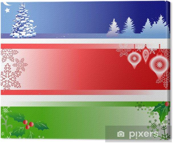Tableau sur toile Trois bannières de Noël avec Espace texte - Fêtes internationales