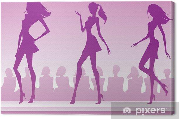 Tableau sur toile Trois mannequins présenter une nouvelle collection - Mode