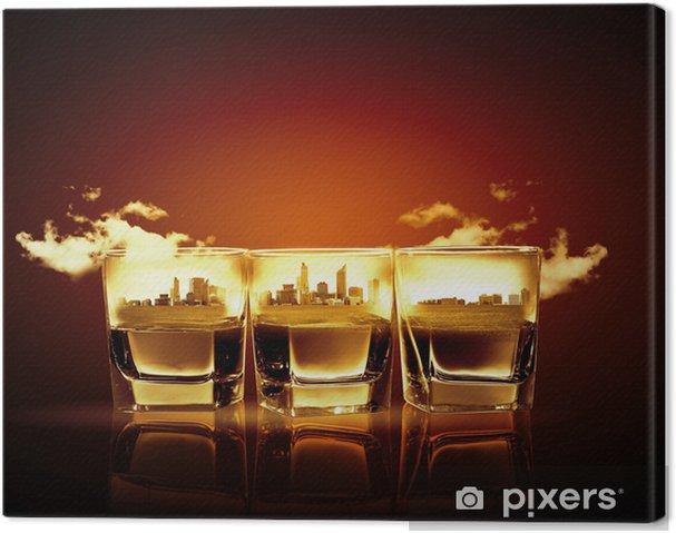 Tableau sur toile Trois verres de whisky - Célébrations