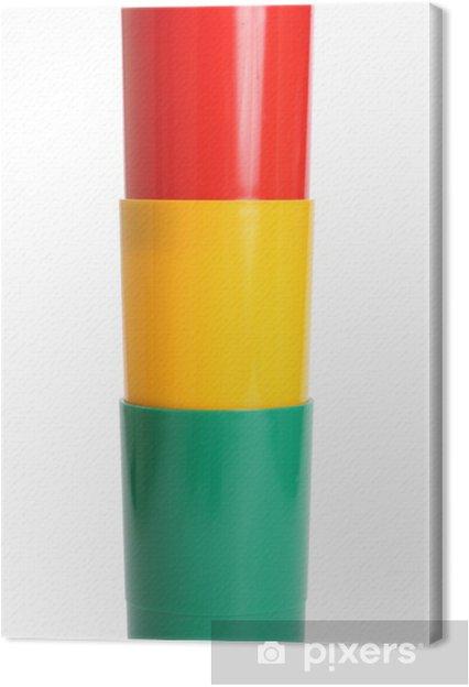 Tableau sur toile Trois verres en plastique de couleur - Mode