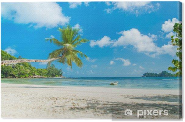 Tableau sur toile Tropical beach Baie Lazare avec le bateau, l'île de Mahé, Seychelles - Vacances