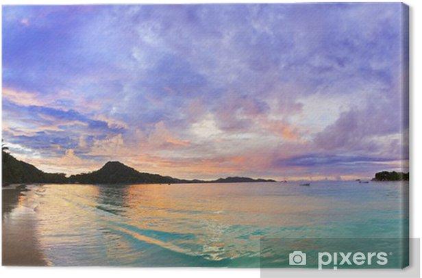Tableau sur toile Tropical beach Cote d'Or au coucher du soleil, Seychelles - Thèmes