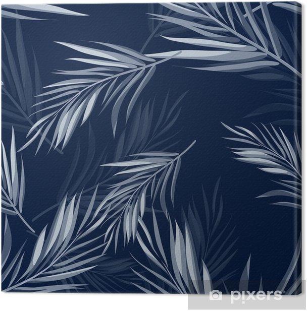 Tableau sur toile Tropical monochrome transparente bleu indigo fond de camouflage avec des feuilles et des fleurs - Plantes et fleurs