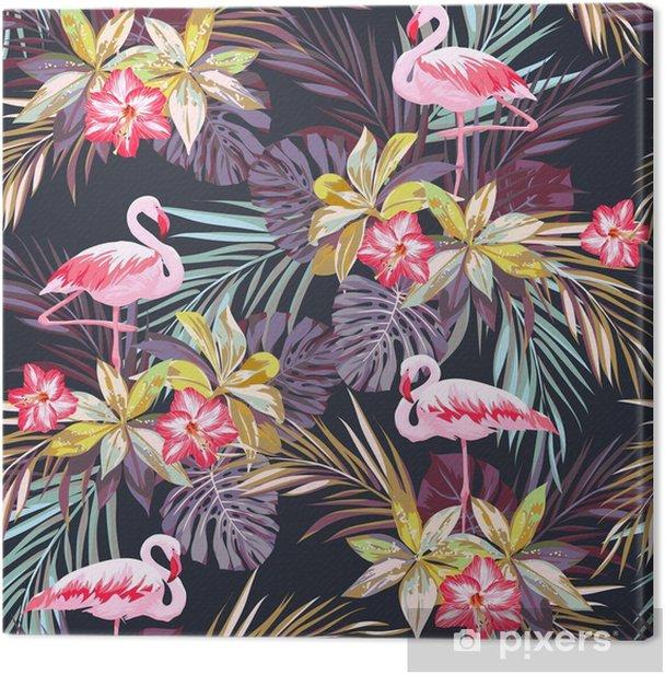 Tableau sur toile Tropical seamless pattern d'été avec des oiseaux de flamants et de plantes exotiques -