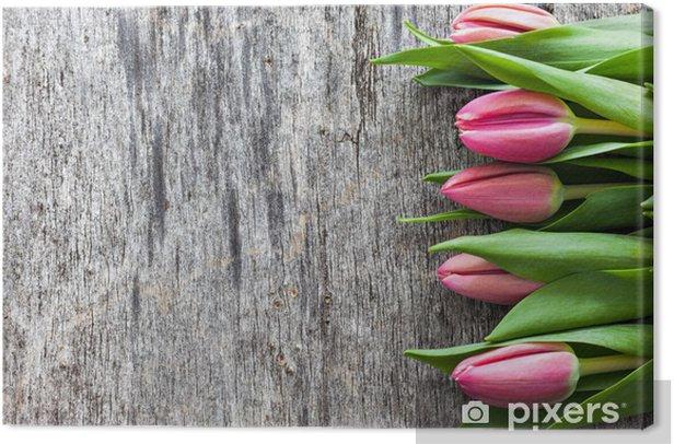 Tableau sur toile Tulipes sur bois - iStaging