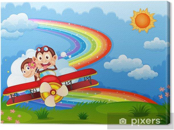 Tableau sur toile Un avion avec deux singes vantard et un arc en ciel dans le ciel - Mammifères