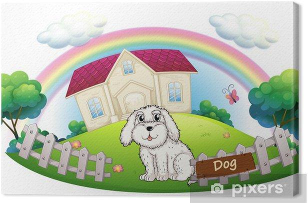 Tableau sur toile Un chien blanc, assis à l'intérieur de la clôture - Sticker mural