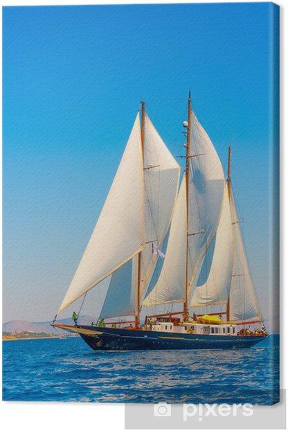 Tableau sur toile Un grand 3 mât voilier classique sur l'île de Spetses en Grèce - Grèce