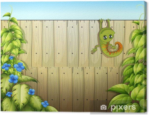 Tableau sur toile Un lézard à la clôture - Arrière plans