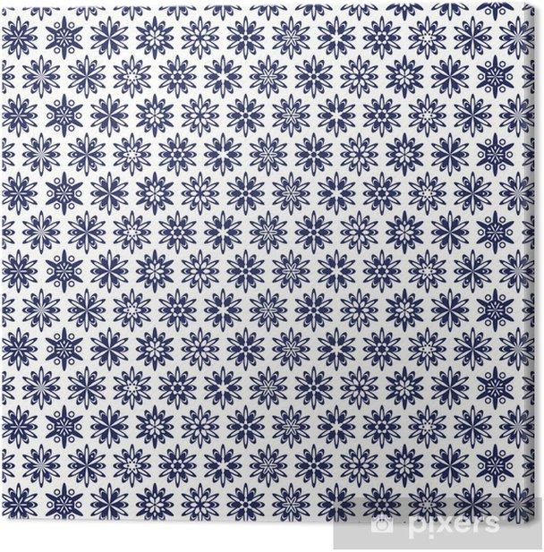 Tableau sur toile Un motif bleu ajouré de style ethnique - Styles