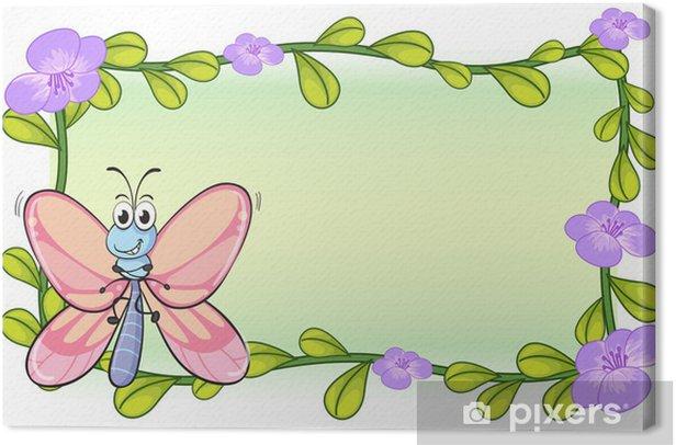Tableau sur toile Un papillon et des fleurs - Autres Autres