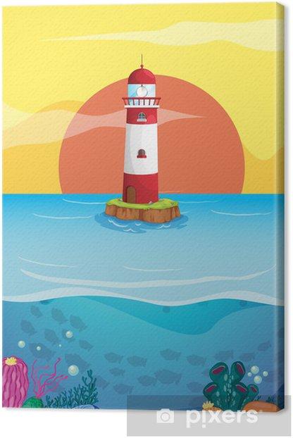 Tableau sur toile Un phare au milieu de la mer - Arrière plans