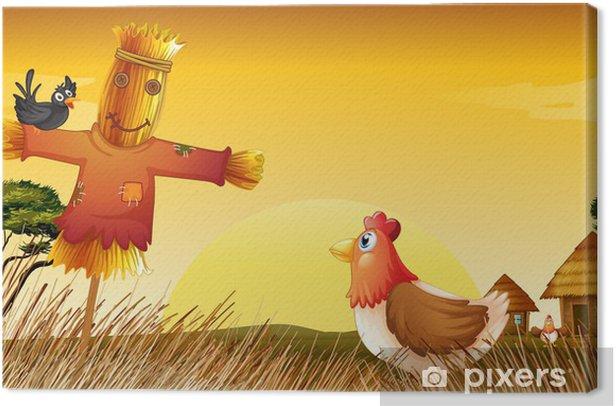 Tableau sur toile Un poulet avec un épouvantail et un oiseau noir sur le terrain - Arrière plans