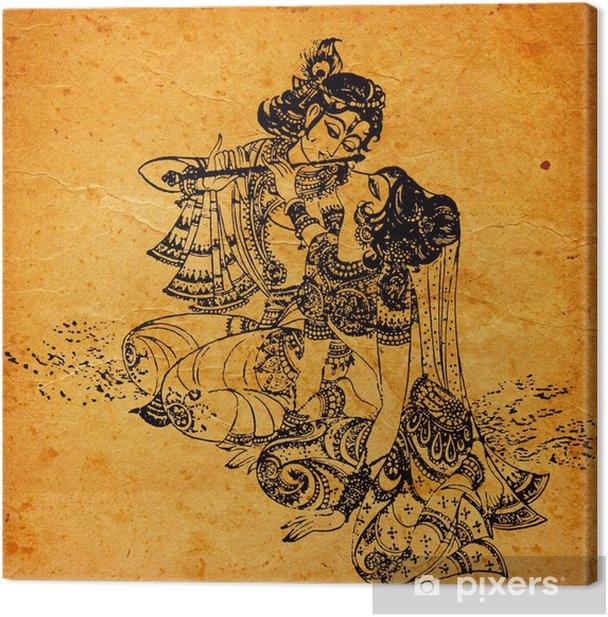 Tableau sur toile Un vieux Radha Krishna peintures - Thèmes