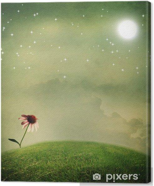 Tableau sur toile Une fleur de l'échinacée sous la lune - Thèmes