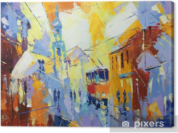 Tableau sur toile Une peinture à l'huile originale sur toile style cubisme, parto de la collection de paysages cubisme, jut et jour ordinaire dans la ville, urbaine, la vie de la ville ,. - Paysages