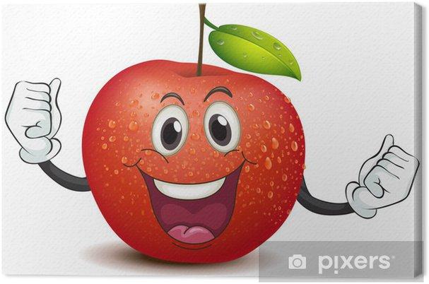 Tableau sur toile Une pomme croquante souriant - Fruits