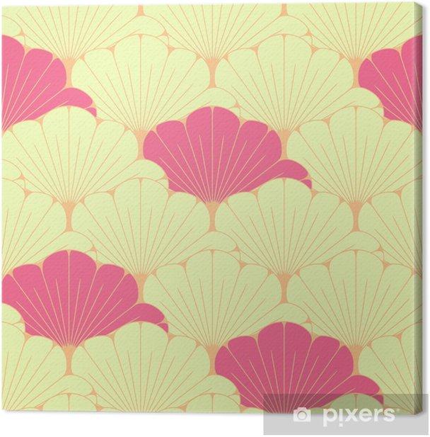 Tableau sur toile Une tuile sans couture de style japonais avec le modèle de feuillage exotique en rose - Ressources graphiques