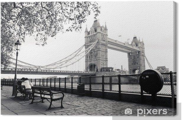 Tableau sur toile Une vue en noir et blanc de Tower Bridge - Thèmes