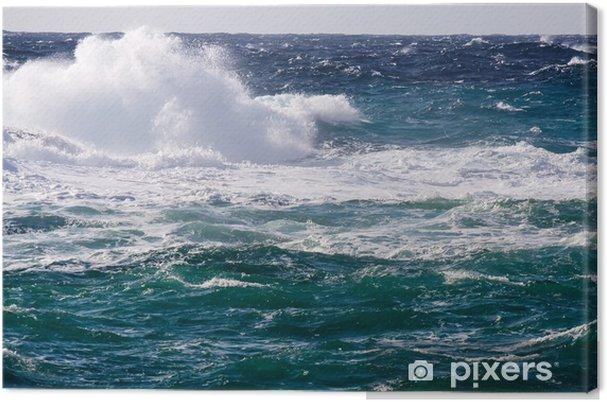 Tableau sur toile Vague méditerranéenne pendant la tempête - Eau