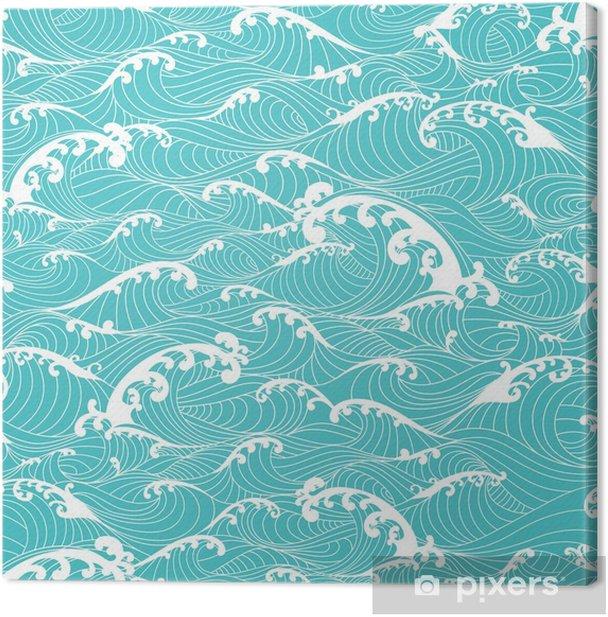 Tableau sur toile Vagues de l'océan, rayures main transparente tirées style asiatique - Ressources graphiques