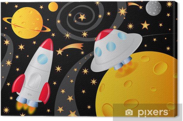 Tableau sur toile Vaisseaux spatiaux dans l'univers - Espace