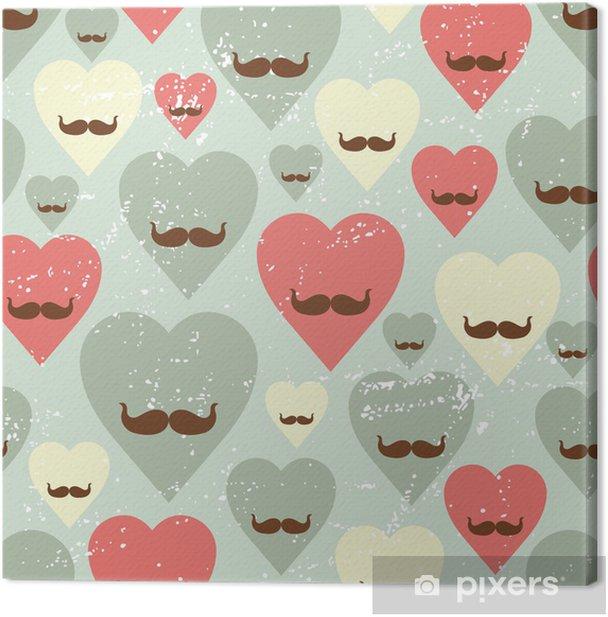 Tableau sur toile Valentine seamless avec coeur et la moustache. - Arrière plans