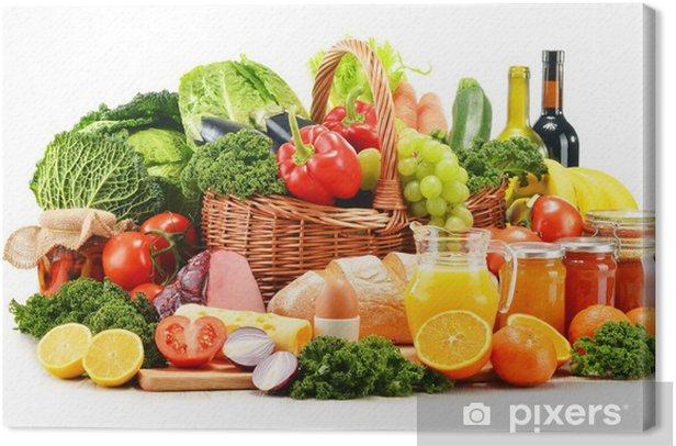 Tableau sur toile Variété de produits d'épicerie biologiques isolés sur fond blanc - Légumes