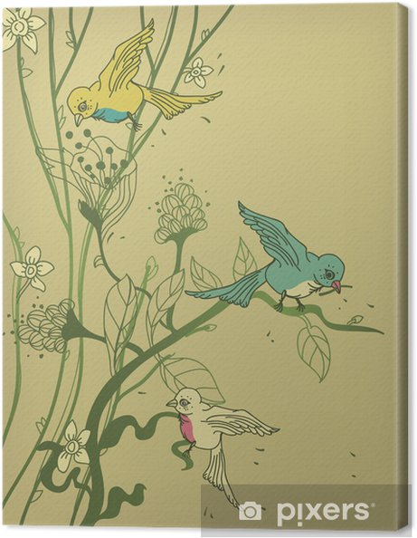 Tableau sur toile Vecteur arbre avec des oiseaux et des fleurs colorées - Animaux imaginaires