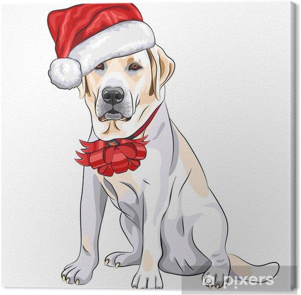 Tableau sur toile Vecteur chien Labrador dans le chapeau de Père Noël avec l'arc de Noël - Sticker mural