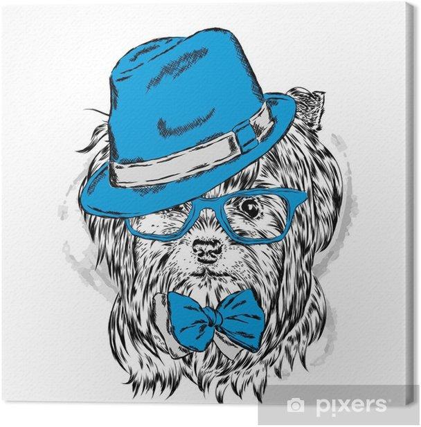 Tableau sur toile Vecteur de chiot mignon. yorkshire terrier dans un chapeau et des lunettes de soleil. - Animaux