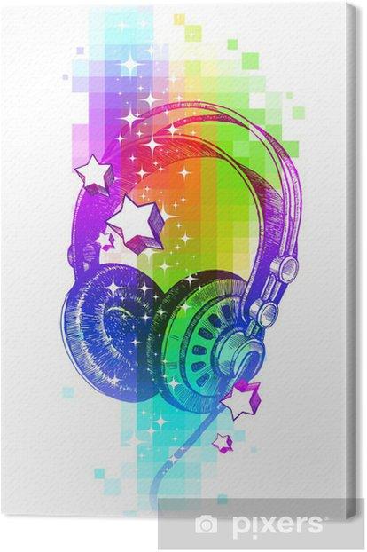 Tableau sur toile Vecteur de conception colorée avec des écouteurs main tirés - Musique