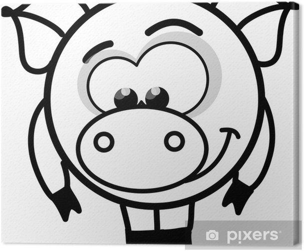 Tableau sur toile Vecteur de dessin animé cochon noir et blanc - Mammifères