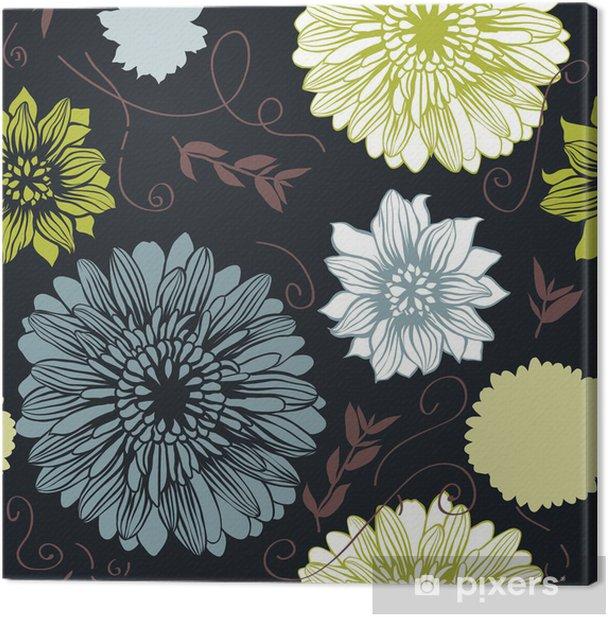 Tableau sur toile Vecteur de fond avec des fleurs dessinés à la main. (Seamless) - Arrière plans