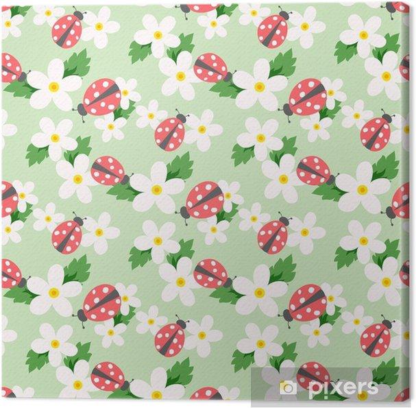 Tableau sur toile Vecteur de petite fleur avec coccinelle. joli modèle sans couture floral blanc. fond floral. - Ressources graphiques