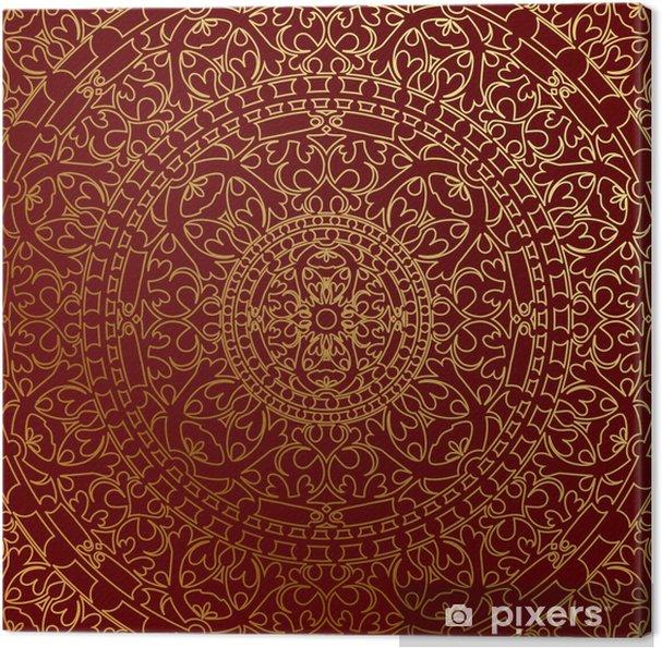 Tableau sur toile Vecteur fond bleu oriental avec l'ornement d'or - Thèmes